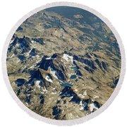 Nevada Mountain Terrain Aerial Lakes Round Beach Towel