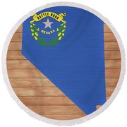 Nevada Rustic Map On Wood Round Beach Towel