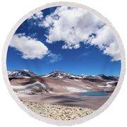 Nevado Ojos Del Salado And Laguna Negra Round Beach Towel