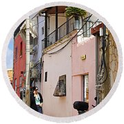 Neve Tzedek Neighborhood In Tel Aviv Round Beach Towel