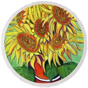 Never Enough Sunflowers Round Beach Towel by Andrea Folts