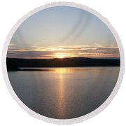 Neversink Reservoir At Sunset Round Beach Towel by Kevin Croitz