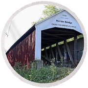 Nevins Covered Bridge Indiana Round Beach Towel