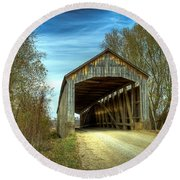 Nevins Covered Bridge Round Beach Towel