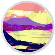 Nevis From The Penninsula Round Beach Towel