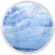 Nevis From The Roof Top Round Beach Towel