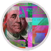New 2009 Series Pop Art Colorized Us One Hundred Dollar Bill  No. 3 Round Beach Towel