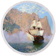 New Albion. Sir Francis Drakes Ship Round Beach Towel