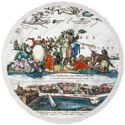 New Amsterdam, 1673 Round Beach Towel