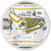 New Amsterdam Map, 1661 Round Beach Towel