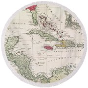 New And Accurate Map Of The West Indies Round Beach Towel by American School