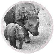 New Born Rhino And Mom Round Beach Towel