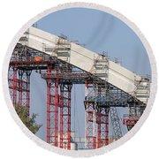 New Bridge Concrete Arc Construction Site Round Beach Towel