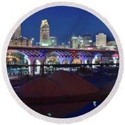 New Bridge From Along The River Round Beach Towel