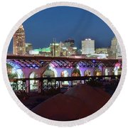 New Bridge Pano Round Beach Towel