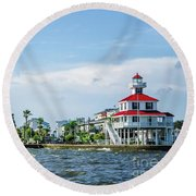 New Canal Lighthouse And Lakefront - Nola Round Beach Towel