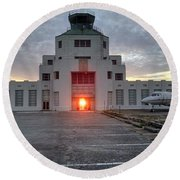 New Dawn For An Old Airport Round Beach Towel