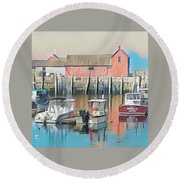 Rockport, Massachusetts Round Beach Towel