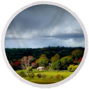 New England Countryside  Round Beach Towel