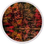 New England Fall Foliage Reflection Round Beach Towel