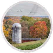 New England Fly Over Square Round Beach Towel