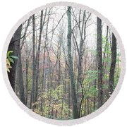 New England Forest Round Beach Towel