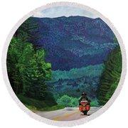 New England Journeys - Motorcycle 2 Round Beach Towel