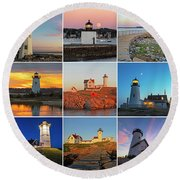 New England Lighthouse Collage Round Beach Towel