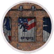 New England Patriots Brick Wall Round Beach Towel