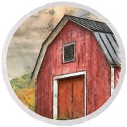 New England Red Barn Pencil Round Beach Towel