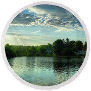 New England Scenery Round Beach Towel
