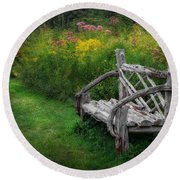 New England Summer Rustic Round Beach Towel