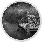 New England Summer Rustic Bw Round Beach Towel