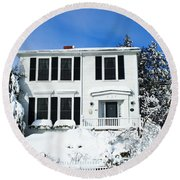 New England Winter Round Beach Towel