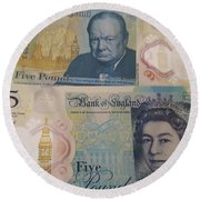New Five Pound Notes Round Beach Towel