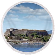 new fortress and port Corfu town Greece Round Beach Towel