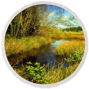 New Growth At The Pond Round Beach Towel