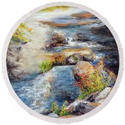 New Hampshire Creek In Fall Round Beach Towel