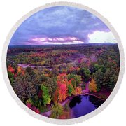New Hampshire Fall Sunset Over Pond Round Beach Towel