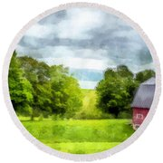 New Hampshire Landscape Red Barn Etna Round Beach Towel