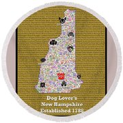 New Hampshire Loves Dogs Round Beach Towel