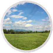 New Hampshire Mountain Meadow Round Beach Towel