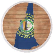 New Hampshire Rustic Map On Wood Round Beach Towel