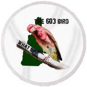 New Hampshire State Bird The Purple Finch Round Beach Towel