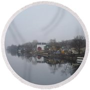 New Hope River View On A Misty Day Round Beach Towel