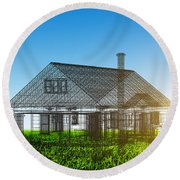 New House Wireframe Project On Green Field Round Beach Towel
