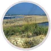 New Jersey Inlet  Round Beach Towel
