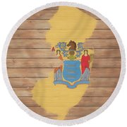 New Jersey Rustic Map On Wood Round Beach Towel