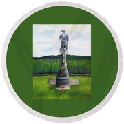 New Jersey Soldier At Monocacy Battlefield In Frederick Md. Round Beach Towel