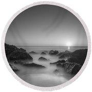 New Jersey Sunrise At Sea Girt Bw Round Beach Towel